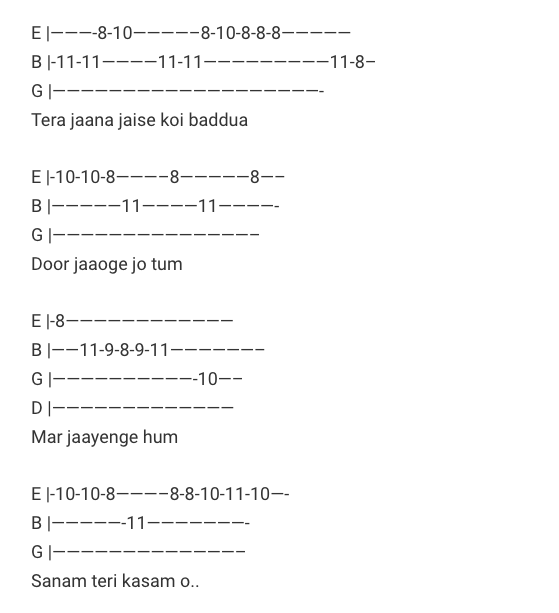 Sanam Teri Kasam Tab/ Sanam Teri Kasam Guitar Tabs / Lead Notes / Hindi Songs Tabs / Ankit Tiwari | Mohammed Irfan / Bollywood / Sanam Teri Kasam Movie / Gaane / Love Songs