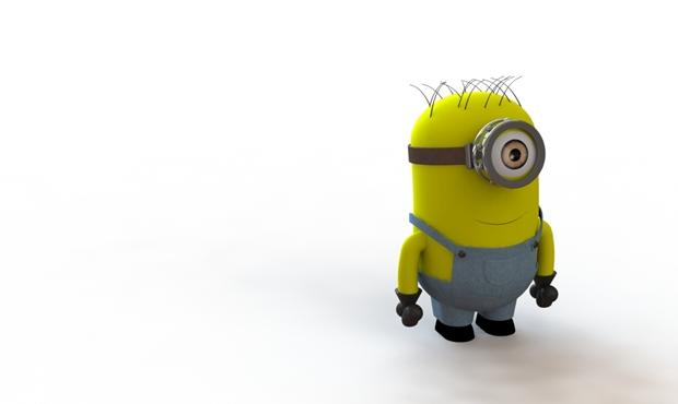 minion pensativo que mira al horizonte en 3d con solidworks