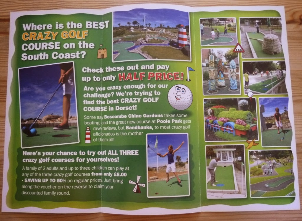 Promotional leaflet for Dorset Mini Golf courses