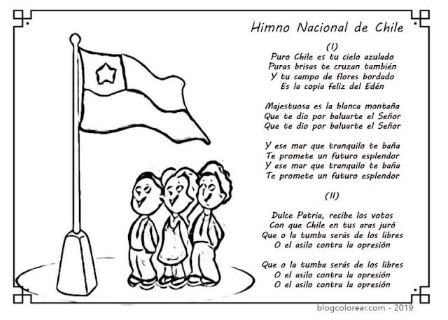 colorear bandera de Chile con Himno Navional
