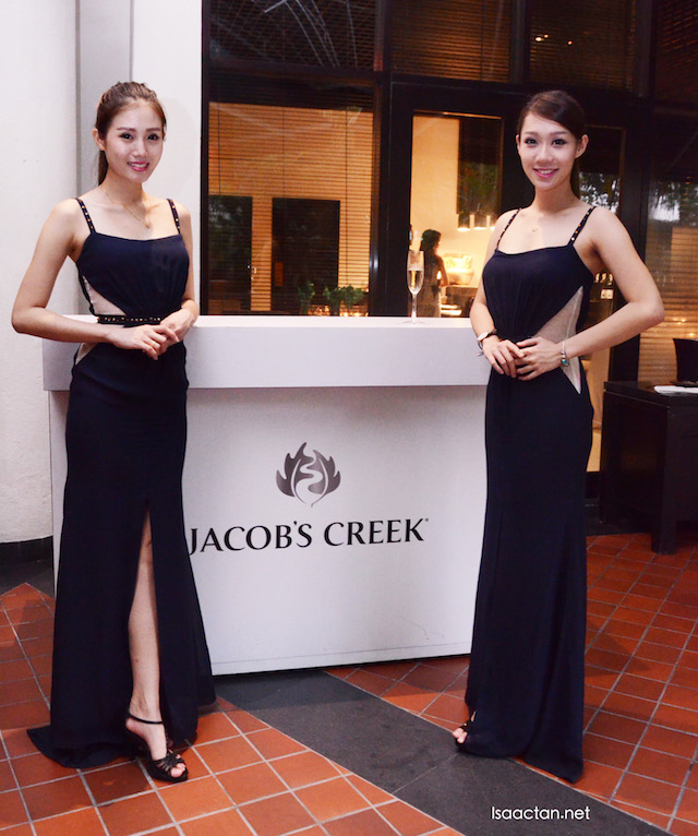 Beautiful ladies welcoming us to Jacob's Creek Wine Pairing dinner