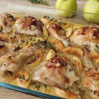 Pollo asado a la Sidra con Manzanas y Bacon (Pollo a la Normanda)