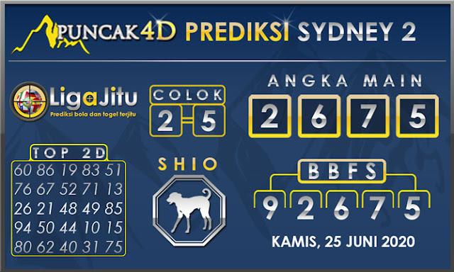 PREDIKSI TOGEL SYDNEY2 PUNCAK4D 25 JUNI 2020
