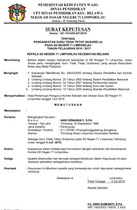 Download Contoh Surat Keputusan (SK) Kepala Sekolah Format Word