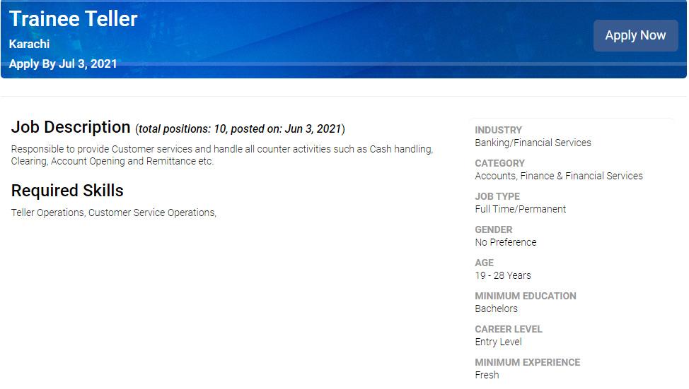 Trainee Teller Jobs in Bank Islami in June 2021   Apply Online
