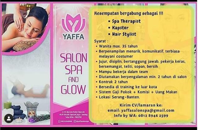 Lowongan Kerja Yaffa Salon Spa Glow Serang