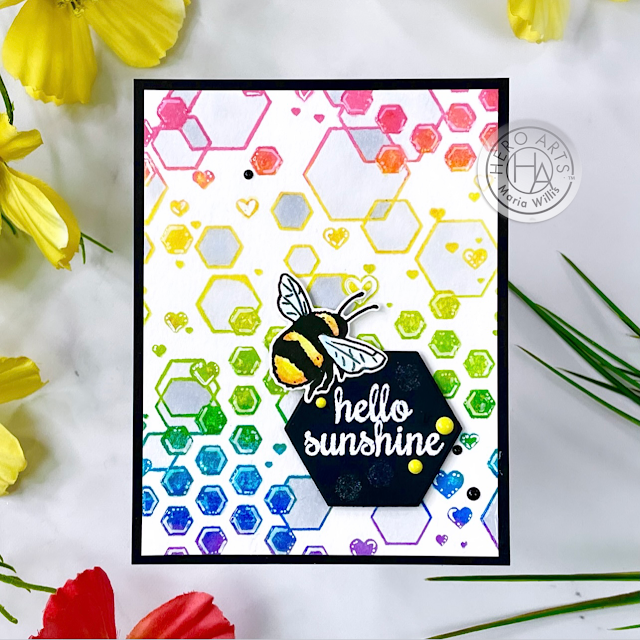 Cardbomb, Maria Willis,Hero Arts, cards, stamping, cardmaking, stamps, art, color, ink, paper, paper crafting, heat embossing, rainbow, hexagons, bees