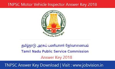 TNPSC Motor Vehicle Inspector Answer Key 2018