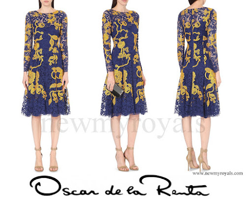 The Countess of Wessex wore OSCAR DE LA RENTA crocheted floral applique lace dress