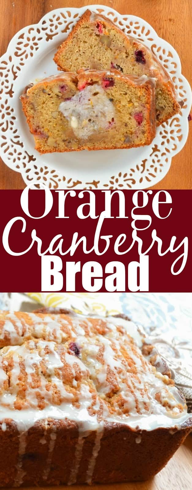Orange Cranberry Bread with Brown Sugar Crumb and Orange Glaze from Serena Bakes Simply From Scratch.