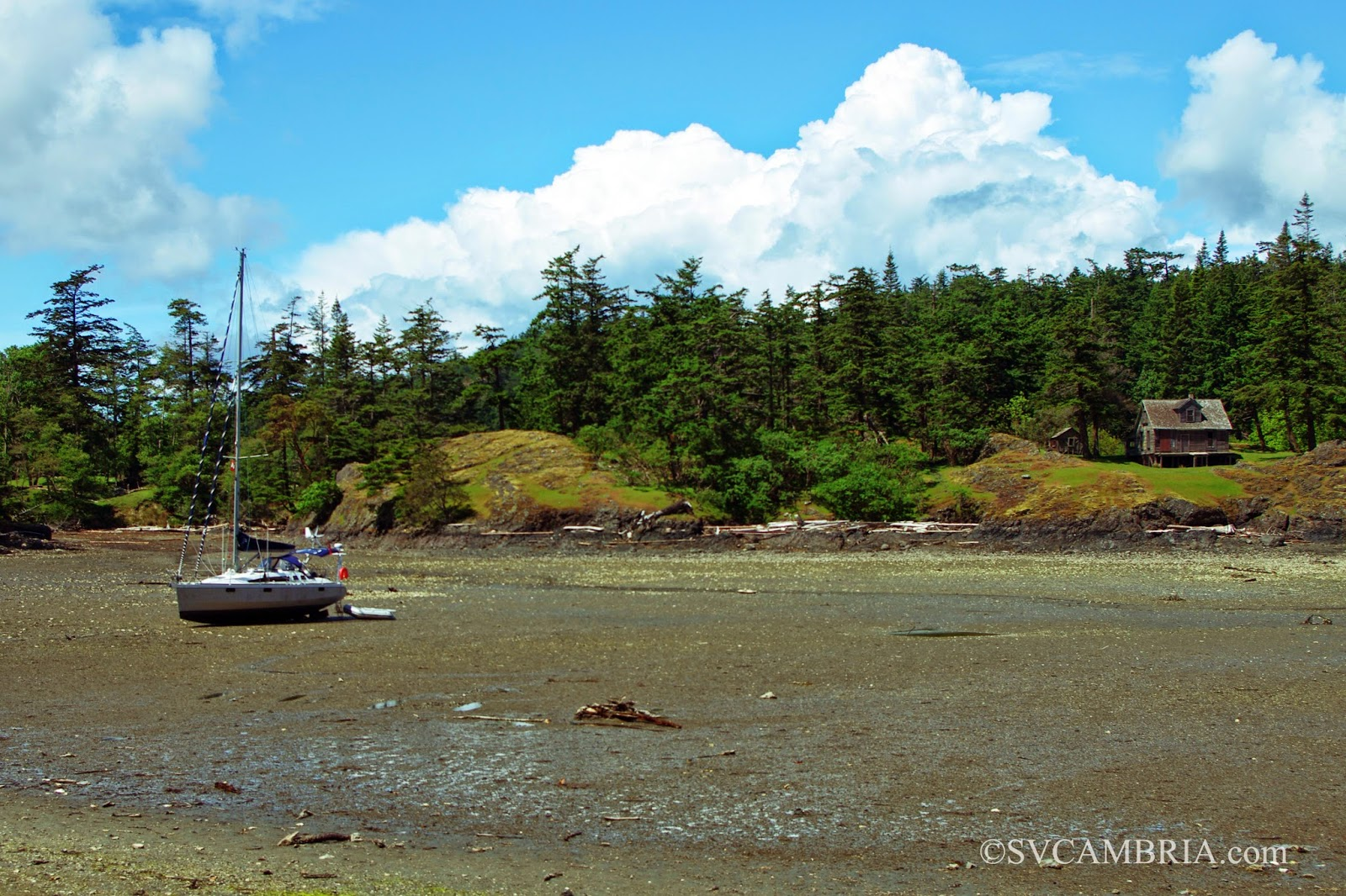 A bilge-keel at anchor in Home Bay, Jedediah Island, BC.