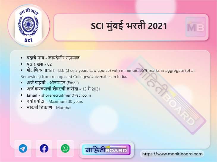 SCI Mumbai Recruitment 2021