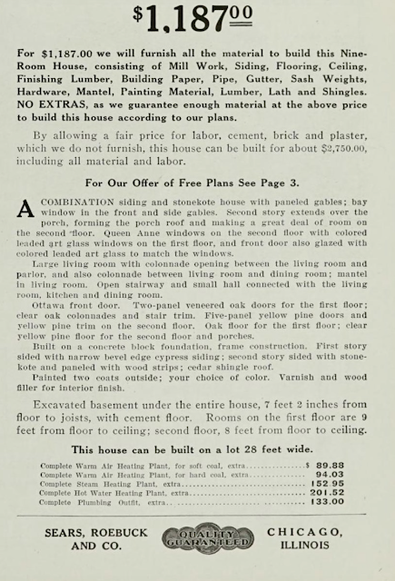 description of what comes with the Sears No 137, from the 1911-1912 Sears Modern Homes catalog