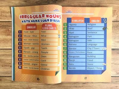 Buku 500 Vocabulary, Buku Pendidikan Viral, Buku Pendidikan 500 Vocabulary, Buku Pendidikan 500 Vocabulary Yang Terbaik Untuk Kanak - Kanak Hingga Dewasa, Irregular Nouns,