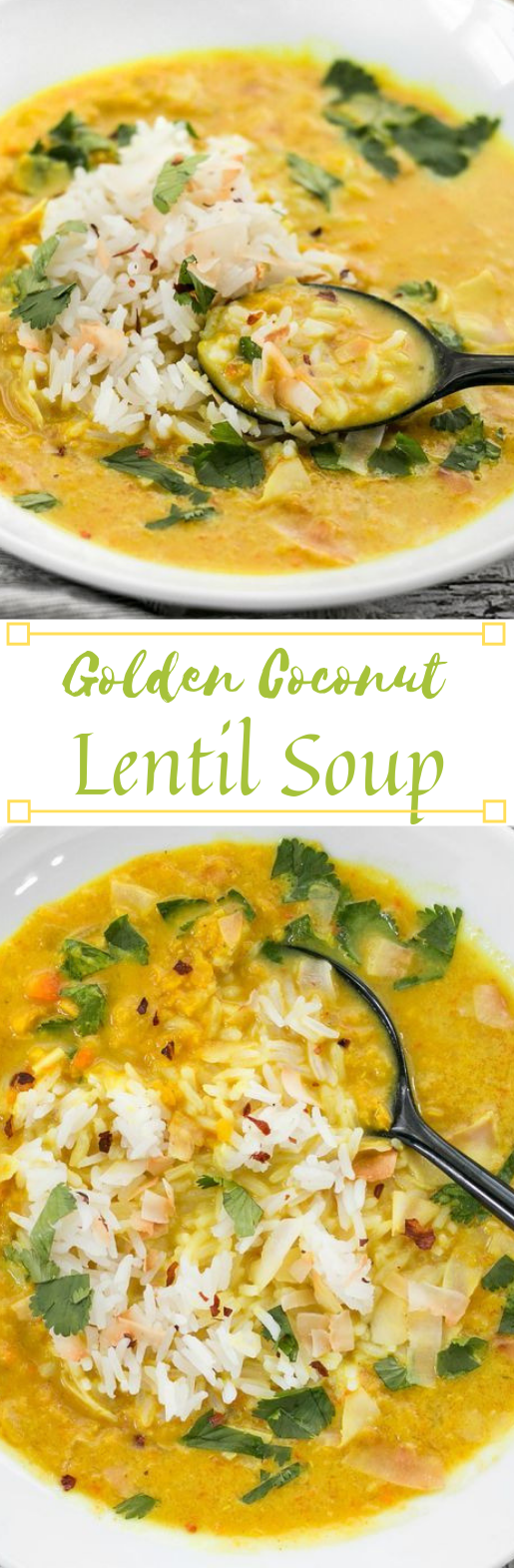 GOLDEN COCONUT LENTIL SOUP #soup #vegetarian #lentil #coconut #breakfast