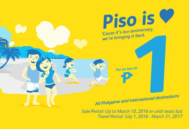 Cebu Pacific Anniversary Promo Piso Fare 2016