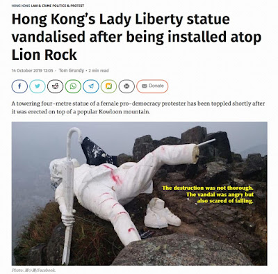 Lady Liberty already vandalized in Hong Kong