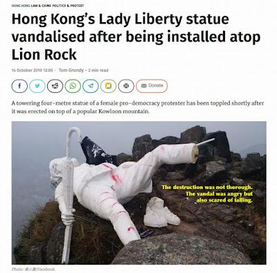 Lady Liberty already vandalized in Hong Kong