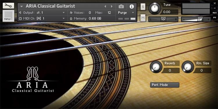 Interface da Library ARIA Sounds - Classical Guitarist (KONTAKT)