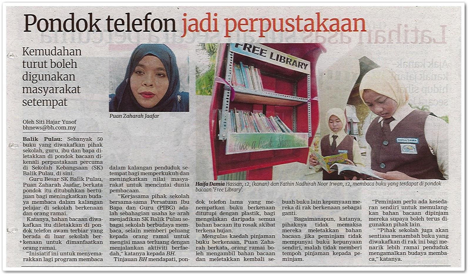 Pondok telefon jadi perpustakaan - Keratan akhbar Berita Harian 23 September 2019