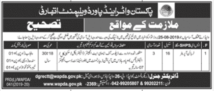 Advertisement for WAPDA Latest Jobs