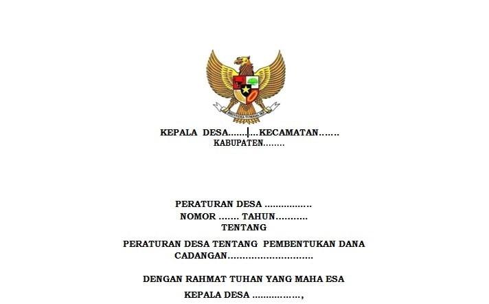 Peraturan Desa Tentang Pembentukan Dana Cadangan