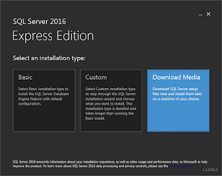 SQL Server Express 2016 - Select Installation Type