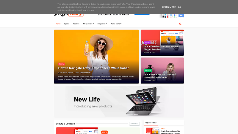 Jago Mag Blogger Template Download for free
