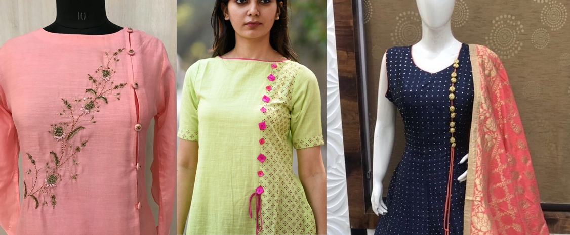 91feef276b Stylish kurti neck designs with buttons to try in 2019 - Velvet Bytes