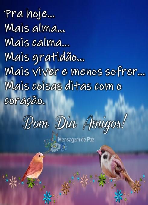 Pra hoje...  Mais alma...  Mais calma...  Mais gratidão...  Mais viver e menos sofrer...  Mais coisas ditas com o coração.  Bom Dia Amigos!