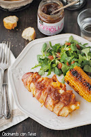 Pollo relleno de queso envuelto con beicon y chutney de cebolla caramelizada de Can Bech