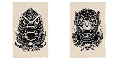 Peter the Salty Sea Devil & Werewolf Linocut Prints by Attack Peter