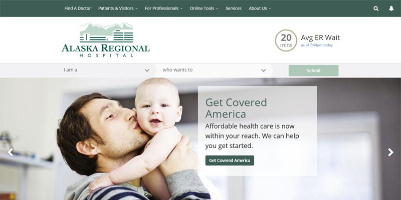 Alaska Regional hospital homepage