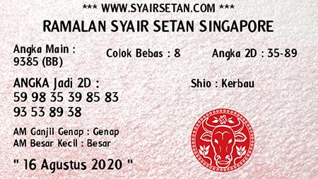 Syair Setan SGP Minggu 16 Agustus 2020