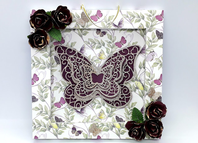 8x8 shadow box, Shadow box tutorial, Mariposa paper pad,