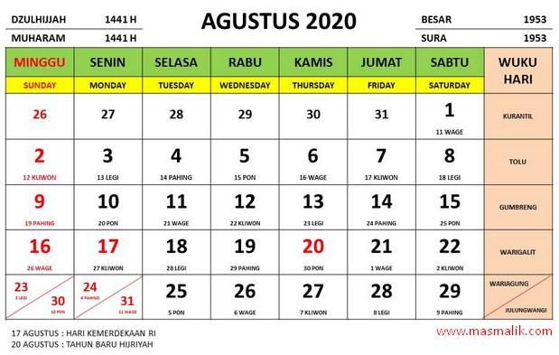 kalender tahun 2020, agustus