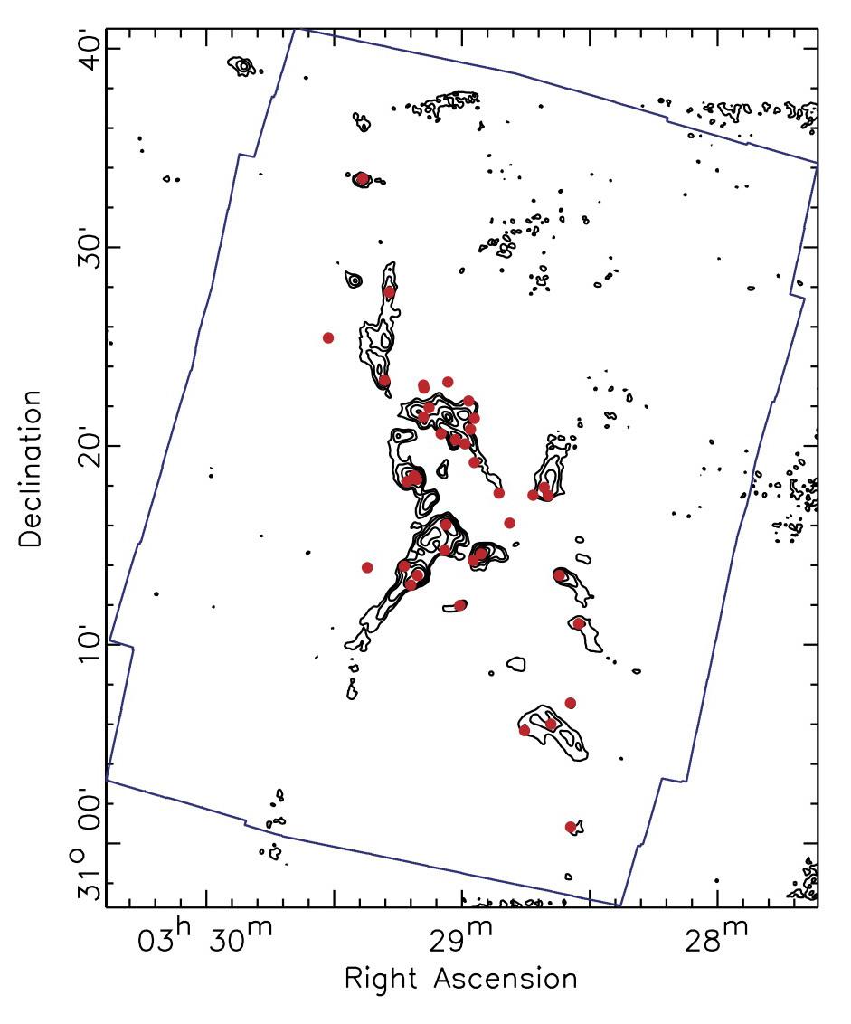 The NGC 1333 molecular cloud. Contours