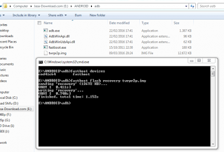 """Continue to the flashing recovery process by typing """"fastboot flash recovery xxx.img"""