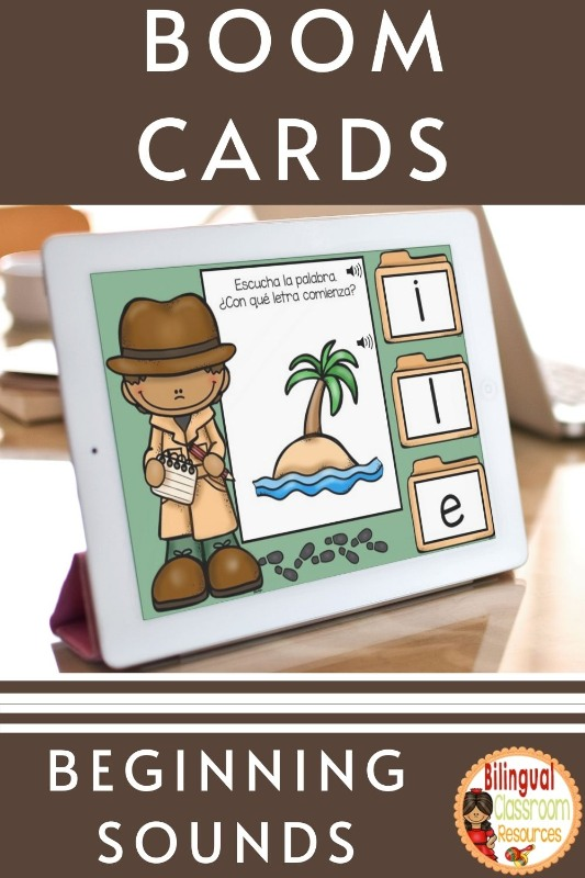 BOOM Cards Beginning Sounds in Spanish I Sonidos iniciales