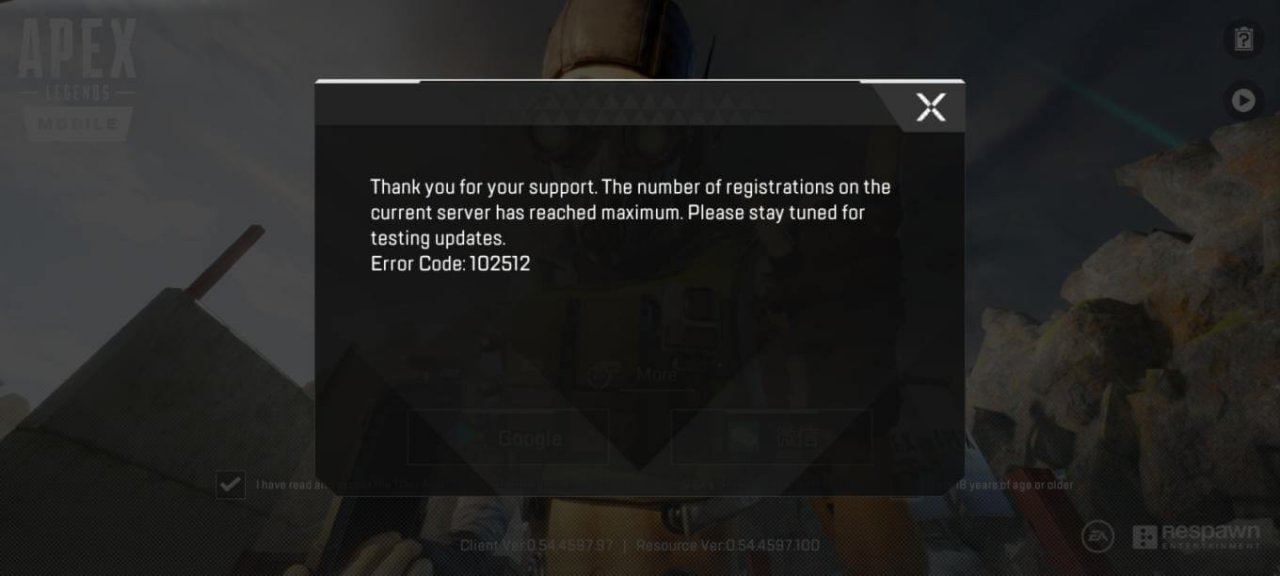 Apex Legends Mobile Error Code 102512