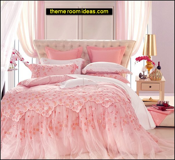 romantic bedding Embroidered Lace Duvet cover romantic bedroom decor pink bedding