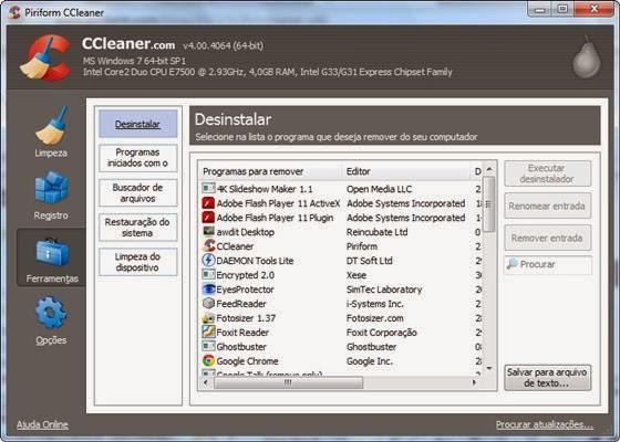 Desinstalador de programas do CCleaner - 560x400