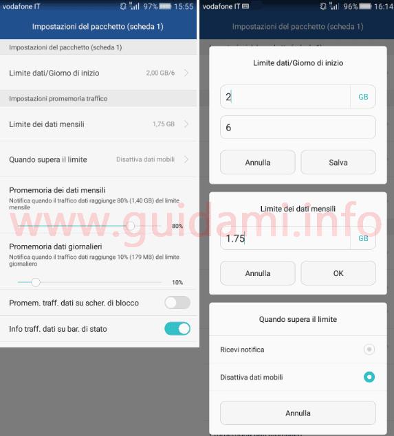 Huawei limite e notifica traffico dati mobili