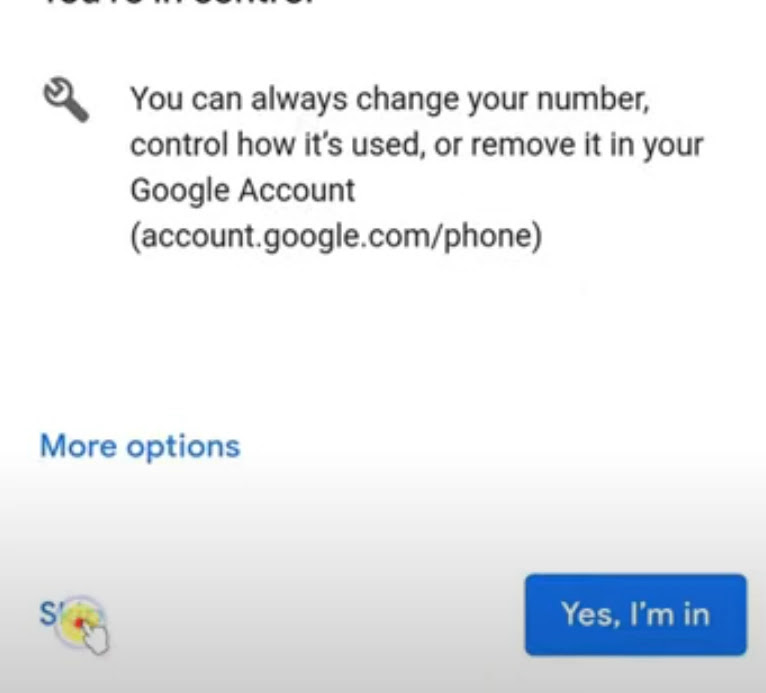 Final step of bypass mobile number