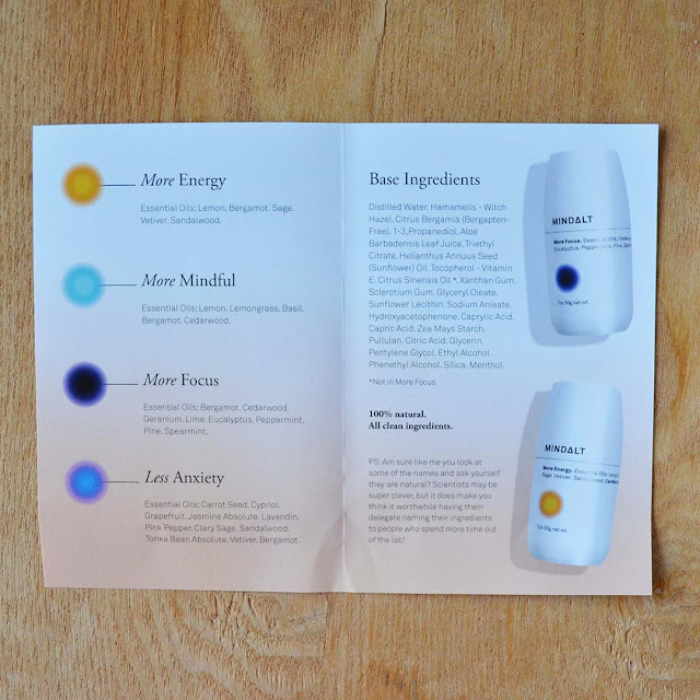 informational pamphlet talking about natural deodorant scents
