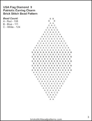 Free brick stitch seed bead earring pattern letter chart.