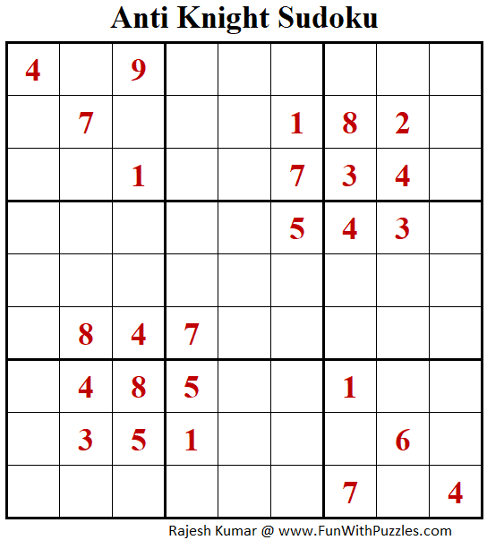 Anti Knight Sudoku Puzzle (Fun With Sudoku #386)