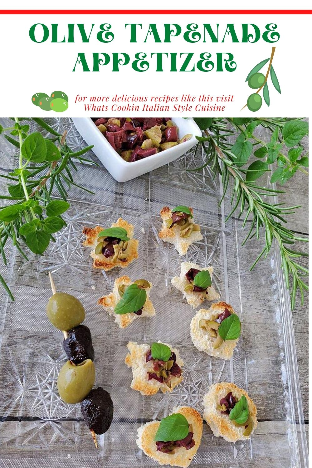 this is a pin for tapenade appetizer recipe