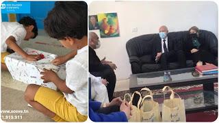 بالفيديو و صور رئيس الجمهورية قيس سعيد وحرمه إشراف شبيل في زيارة رسمية بمناسبة العيد لقرية الأطفال SOS للأيتام بڨمرت