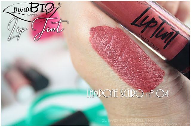 lampone scuro 4 Liptint lipgloss purobio cosmetics swatches review makeup naturale